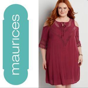 Maurices Maroon Cold-Shoulder Boho Dress, Large